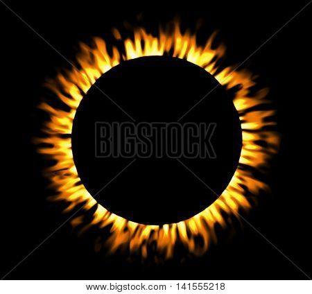 Solar eclipse, round fire frame, shining circle banner