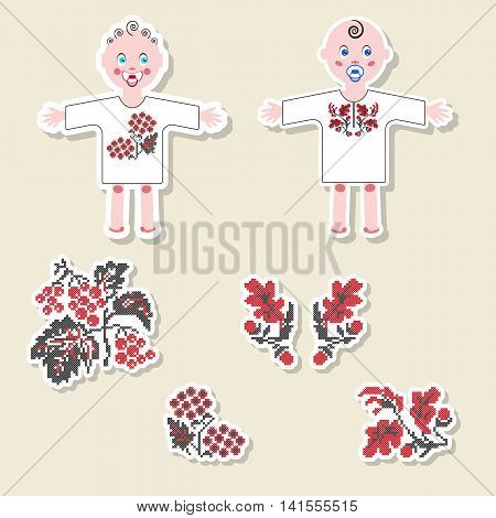 Vector set of design element, logo, badge, label, icon, decoration and scrapbook object. Ukrainian traditional New born Baby elements. Boy and girl dressed in ethnic embroidery shirt. Embroidered oak and viburnum.