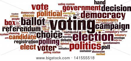 Voting word cloud concept. Vector illustration on white