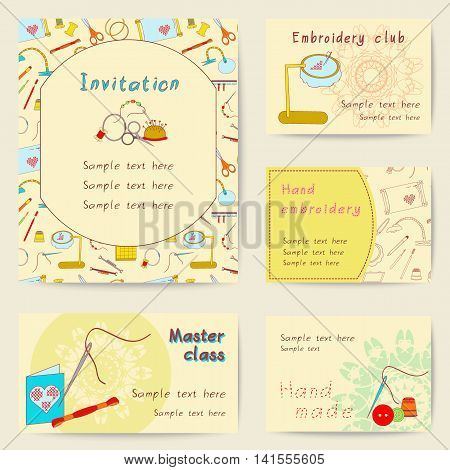 Set printable cards. Bright collection with embroidery tools. Stock vector illustrations of objects for embroider, handicraft, hand made. It can be used for scrapbooking, print, business, invitation