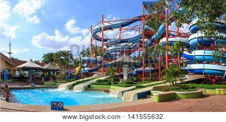 BangkokThailand - August 062016 : People enjoy on waterpark at Siam park amusement in Bangkok Thailand.