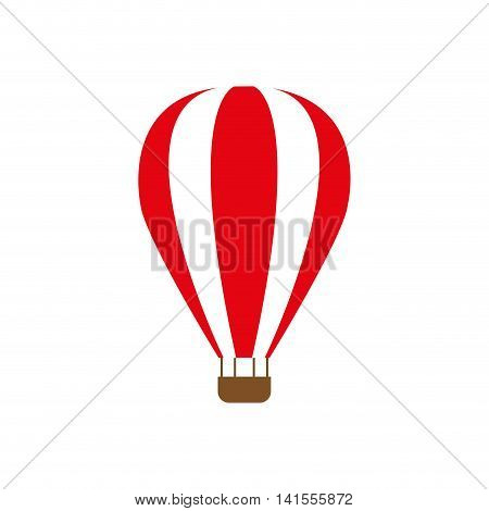 hot air balloon striped transportation icon. Isolated and flat illustration. Vector graphic