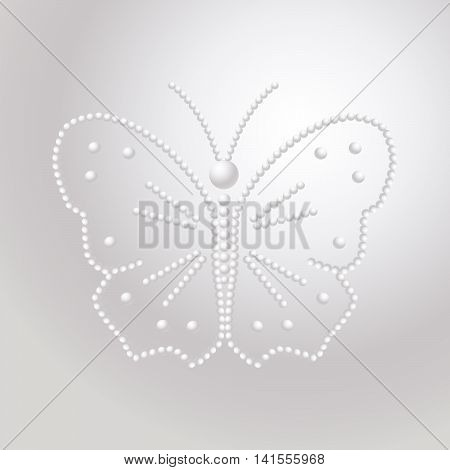 Butterfly made of pearls, vector a pattern of precious stones.