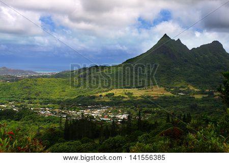 Stock image of Nuuanu Pali State Park O'ahu Hawaii