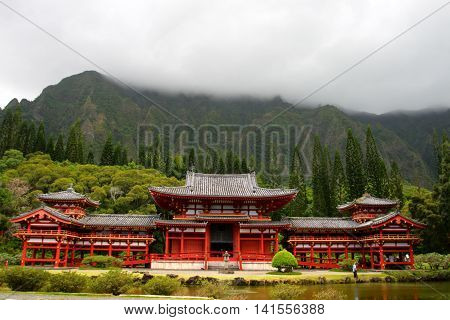 Stock image of Byodo-In Temple O'ahu Hawaii, USA