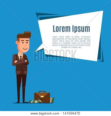 Business man with a briefcase full of money. Dialog bubble with place for text. Vector flat illustration