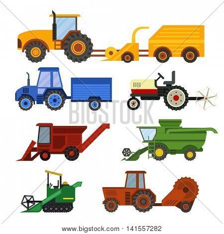 Harvester machine vector set.
