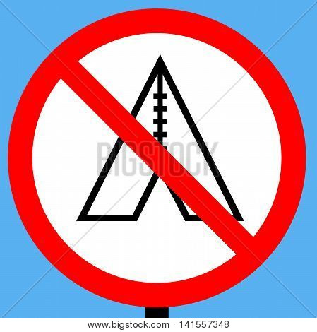 An illustration of a No camping sign