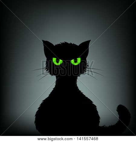 Silhouette of black cat with green eyes. Stock vector illustration.