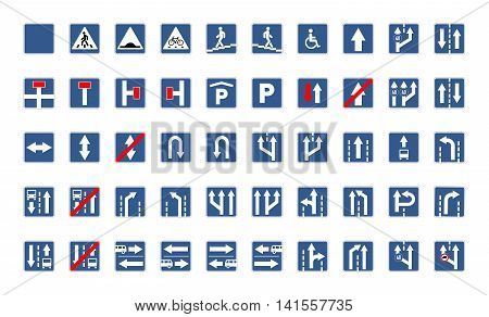 Big set of blue square road signs isolated on white