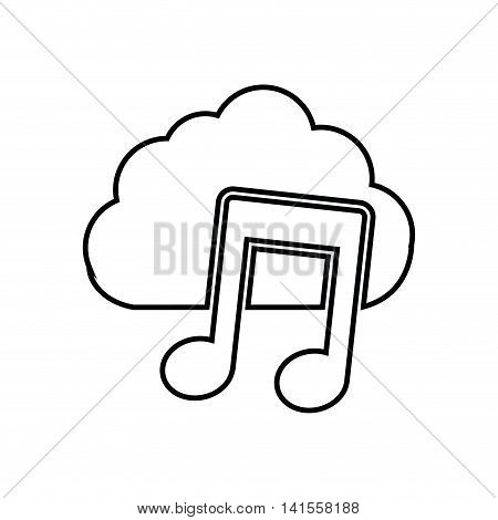 cloud music note sound dj melody icon. Isolated and flat illustration. Vector graphic