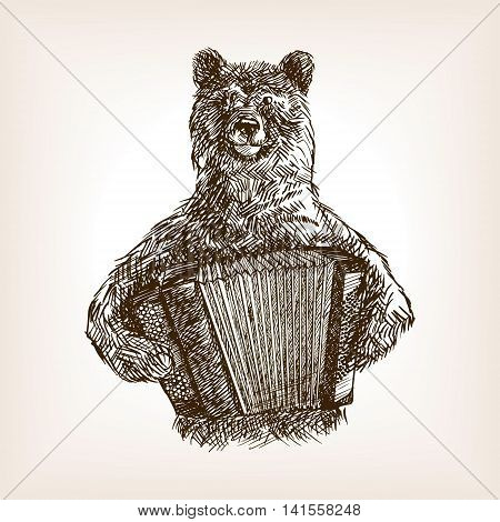 Bear with accordion sketch style vector illustration. Old hand drawn engraving imitation.