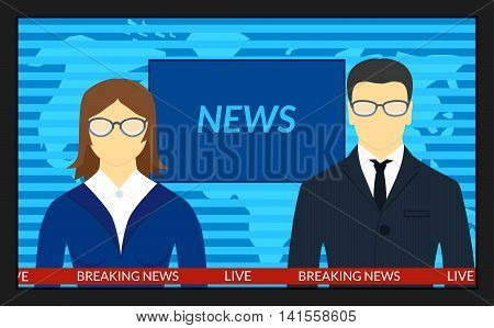 vector illustration.TV screen with the breaking news. Man and woman news anchors