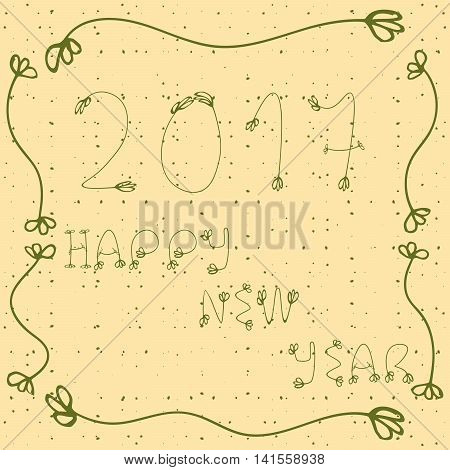 2017 Happy New Year  Hand Drawn Illustration With Doddle Elements, Decorative Frame And Dots. Dark B