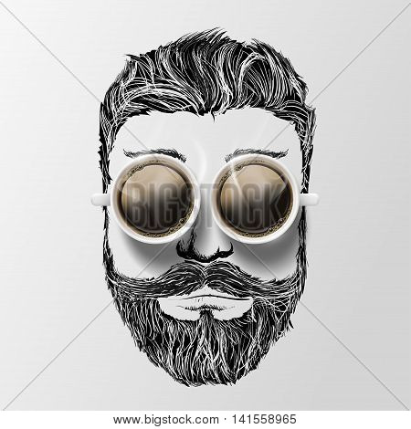 head of a man with a mustache beard and coffee. Hipster style. Stock vector illustration.
