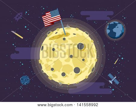 Stock vector illustration of the United States of America flag stuck into the surface of the moon on a background of outer space in a flat style.