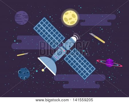 Stock vector illustration of satellite flies in outer space in a flat style