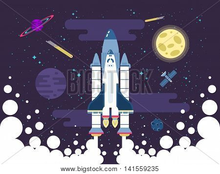 Stock vector illustration of rocket flies in outer space in a flat style