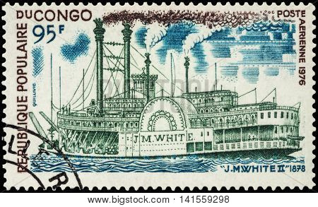 MOSCOW RUSSIA - AUGUST 05 2016: A stamp printed in Congo shows old paddle steamer