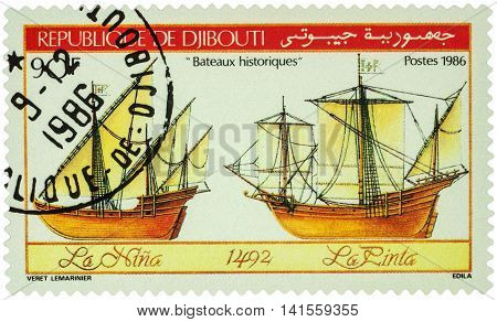 MOSCOW RUSSIA - AUGUST 05 2016: A stamp printed in Djibouti shows antique sailing ships