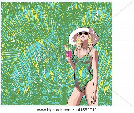 Beautiful Girl with a cocktail in a tropical ambience. Abstract design for advertising, fashion, bar, flyer.