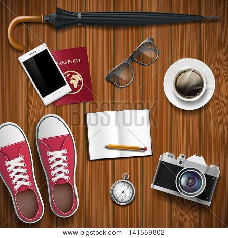 Objects for travel on a wooden background. Hipster style. Stock vector realistic illustration.