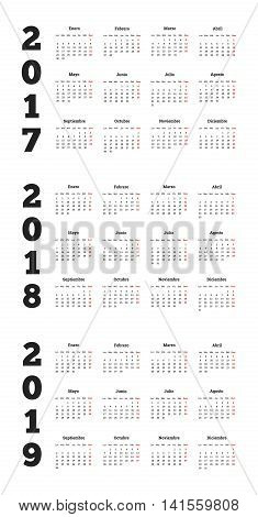 Set of simple calendars in spanish on 2017 2018 2019 years isolated on white