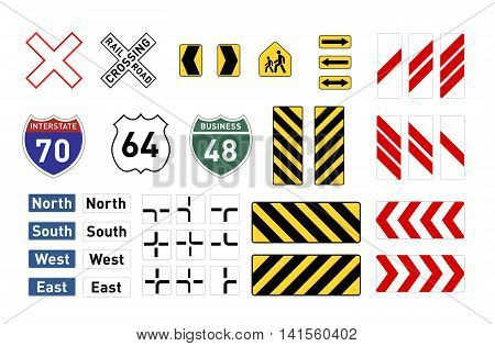 Set of different warning road signs isolated on white