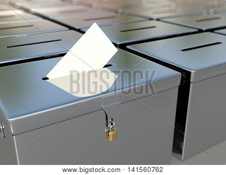 3D rendering metal ballot boxes and vote card.