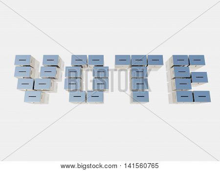 3D rendering the word VOTE from ballots boxes isolated on white background on top views.