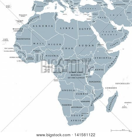 Africa countries political map with national borders. Continent surrounded by Mediterranean Sea, Red Sea, Indian Ocean and Atlantic Ocean including Madagascar. English labeling.