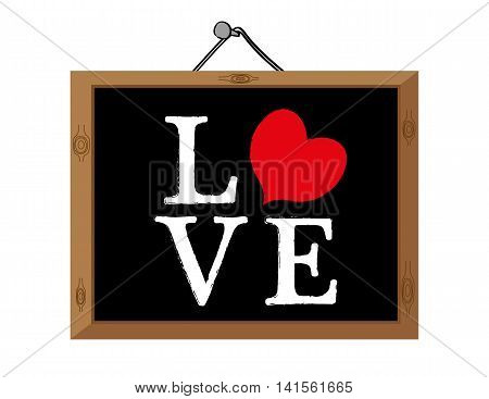 The word Love on a blackboard with the letter O replaced by a red heart shape