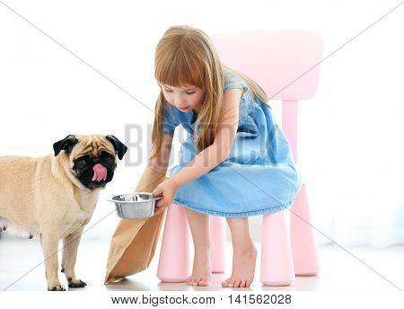 Adorable little girl feeding cute pug