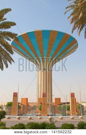 Water tower in the Riyadh city, Saudi Arabia