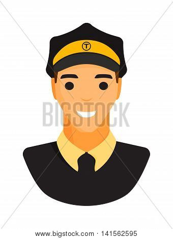 Taxi driver yellow street passenger cab vector illustration worker icon. Transport service travel male taxi driver people city. Delivery city lifestyle portrait job taxi driver transport service.
