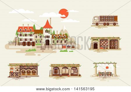 Set Stock Vector Illustration for wine business, facade and interior of winery with vineyards, shop, cellar, transportation delivery of whiskey and alcoholic beverage in flat style