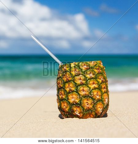 Pina Colada With Pipe On Beautiful Sandy Beach