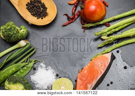Flatlay Of Healthy Seafood Concept Salmon Fillet With Fresh Ingredients For Tasty Cooking