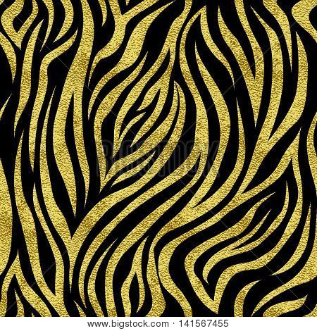 Vector seamless pattern with gold spots zebra. The backdrop for the printed products, web design, postcards, banners, etc.