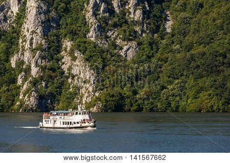 Cruising Ship Full Of People On Danube River