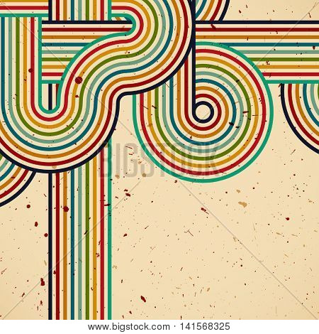 Retro design. Template background whit colors stripes print. Vintage illustration with place for text.