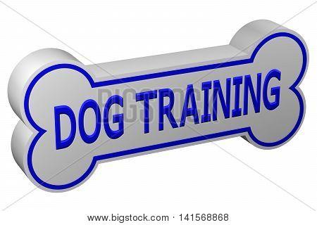 Concept: dog training. Dog bone with words - dog training. isolated on white background. 3D rendering.