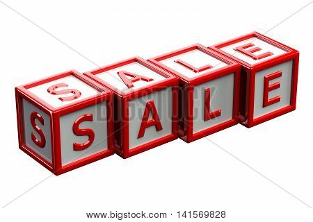 Blocks with word sale isolated on white background. 3D rendering.
