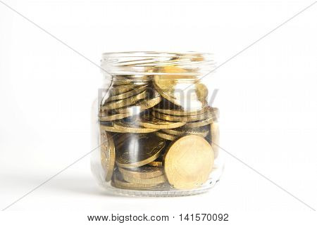 Russian Rubles In Glass Bank As Element Accumulation