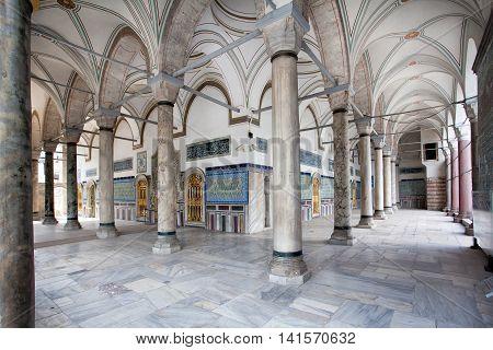 Istanbul Turkey - August 2 2014: Inside Topkapı Palace Museum Istanbul