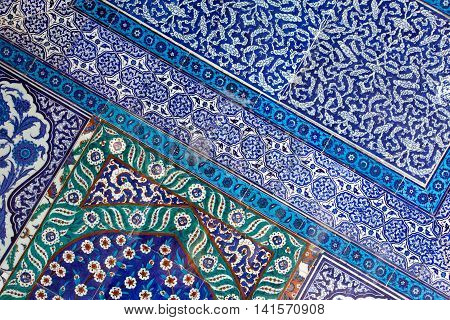 Istanbul Turkey - August 2 2014: İznik tiles decorate the interior of the Topkapı Palace Museum Istanbul