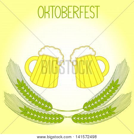 Two mugs of beer and barley ears, Oktoberfest. On a light yellow background