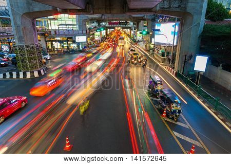 Heavy Traffic At Siam Square, Bangkok, Thailand