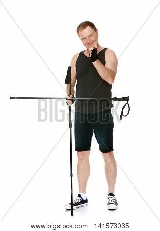 Man in t-shirt and shorts, Nordic walking sticks, threatens finger -Isolated on white background