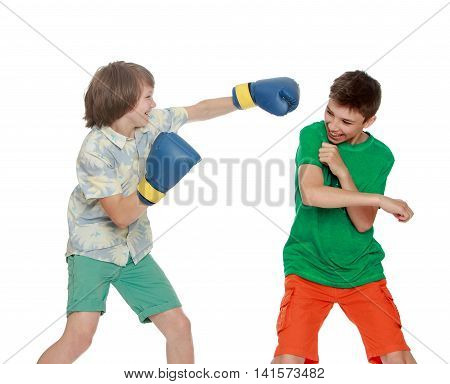 Two boy have fun Boxing each other - Isolated on white background